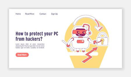 Bad bot landing page flat silhouette vector template. Malicious malware homepage layout. Protecting PC from hackers one page website interface with cartoon outline character. Web banner, webpage Ilustração