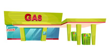 Gas station exterior cartoon vector illustration. Petrol refill store front flat color object. Oil and gasoline pump for transport. Car fuel building facade isolated on white background