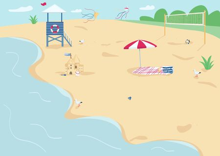 Sand beach flat color vector illustration. Blanket with sun umbrella, lifeguard tower and volleyball net. Summer vacation, recreation. Seacoast 2D cartoon landscape with water on background