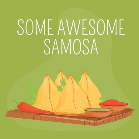 Indian bakery social media post mockup. Some awesome Samosa phrase. Web banner design template. Traditional pastry booster, content layout with inscription. Poster, print ads and flat illustration