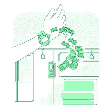 Smart clock thin line concept vector illustration. Person buying electronic metro ticket 2D cartoon character for web design. NFC technology, cashless payment service creative idea Ilustração