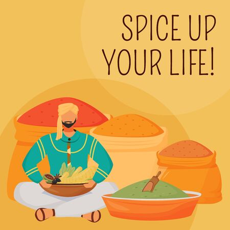 Indian flavourings social media post mockup. Spice up your life phrase. Web banner design template. Hindu condiments booster, content layout with inscription. Poster, print ads and flat illustration Illustration