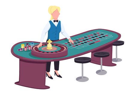 Croupier flat color vector faceless character. Female dealer near roulette table. Person ready to spin wheel and take bets. Woman in uniform behind gambling counter isolated cartoon illustration Çizim