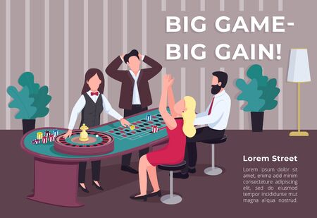 Big game big gain poster flat vector template. Man and woman near roulette table. Bet on red. Stake on black. Brochure, booklet one page concept design with cartoon characters. Casino flyer, leaflet Illustration