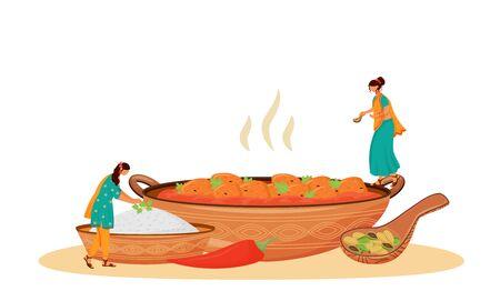 Matar paneer serving flat concept vector illustration. Female Indian cooks, women in sari preparing traditional vegetarian dish 2D cartoon character for web design. Meal serving creative idea