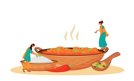 Matar paneer serving flat concept vector illustration. Female Indian cooks, women in sari preparing traditional vegetarian dish 2D cartoon character for web design. Meal serving creative idea