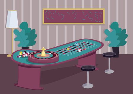 Roulette table flat color vector illustration. Gambling game to win bets. Put stake on red. Chips on black. Spin wheel reel. Casino room 2D cartoon interior with decoration on background