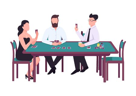 Gambler flat color vector faceless characters. Woman look at card. Man holding deck. Male player with stack of chips. Gamble with opponents. Three people sit in casino isolated cartoon illustration