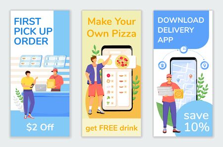 Fast food special offers flyers flat vector templates set. First customer discount printable leaflet design layout. Delivery economy advertising web vertical banner, social media stories Vectores