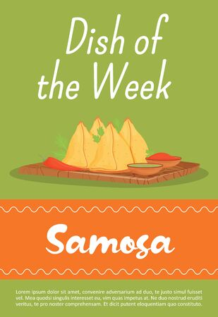 Samosa, traditional Indian meal poster flat vector template. Restaurant dish of week brochure, booklet one page concept design. Asian bakery, pastry with savory fillings flyer, leaflet