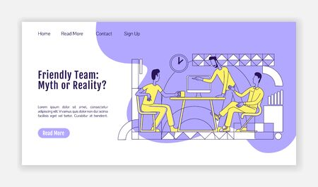 Friendly team landing page flat silhouette vector template. Office workers communication homepage layout. Employees cowork one page website interface with outline characters. Web banner, webpage