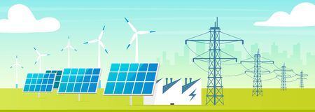 Alternative power station flat color vector illustration. Eco friendly facility 2D cartoon landscape with cityscape on background. Environmentally safe wind turbines, solar panels with electric towers