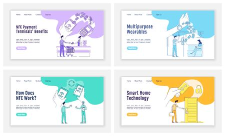 NFC tech landing page flat silhouette vector templates set. Contactless payments homepage layout. Smart home one page website interface with cartoon outline character. NFC devices web banner, webpage