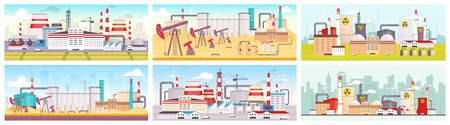 Industrial sites flat color vector illustrations set. Oil refinery, nuclear power station and manufacturing plant 2D cartoon landscapes. Facilities for natural resources mining and exploitation