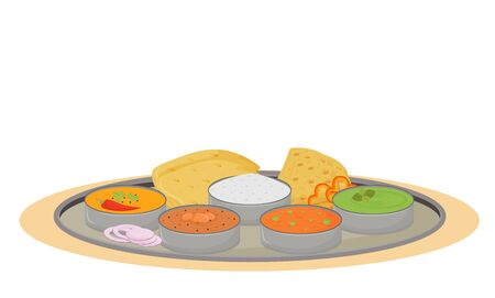 Thali cartoon vector illustration. Indian traditional dish, metal plate with meals flat color object. Restaurant food portion serving, steel tray with delicacies isolated on white background Иллюстрация