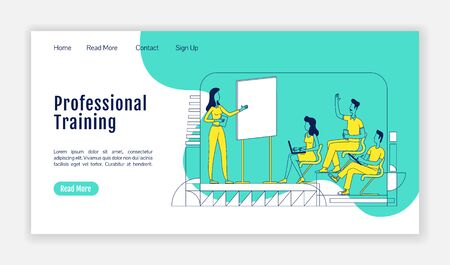 Professional training landing page flat silhouette vector template. Business school homepage layout. Corporate seminar one page website interface with cartoon outline character. Web banner, webpage