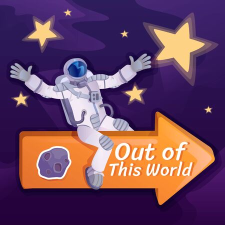 Out of this world social media post mockup. Inspirational phrase. Web banner design template. Cosmonaut on arrow booster, content layout with inscription. Poster, print ads and flat illustration Ilustração