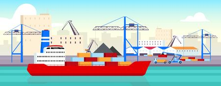 Sea port flat color vector illustration. Industrial shipyard, container yard 2D cartoon landscape with warehouses on background. Maritime freight transportation logistics hub. Commercial storage depot Vettoriali