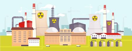 Nuclear power plant flat color vector illustration. Industrial facility 2D cartoon landscape with atomic reactors on background. Energy manufacturing station, electricity production factory panorama Stock Illustratie