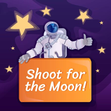 Shoot for Moon social media post mockup. Motivational phrase. Web banner design template. Cosmonaut with banner booster, content layout with inscription. Poster, print ads and flat illustration