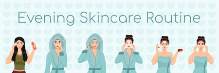 Female evening skincare routine flat color vector characters set. Face daily procedures isolated cartoon illustrations on white background. Girl removing make up, applying sheet mask and cream