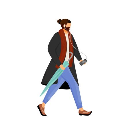 Man with beard in coat flat color vector faceless character. Male hipster with beard walk with umbrella. Guy listen to music on smartphone while walking. Cold weather isolated cartoon illustration Stock Illustratie