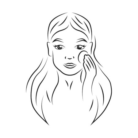 Woman holding cotton pad contour portrait vector illustration. Girl smiling face realistic line art. Lady taking make up off, using toner lotion outline character on white background