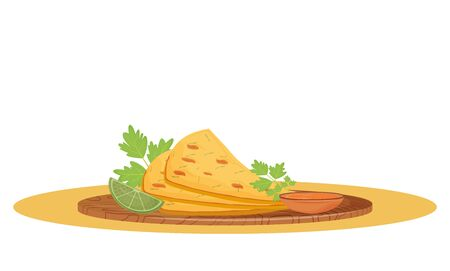 Naan bread cartoon vector illustration. Served traditional Indian meal, flatbread with sauce on wooden board flat color object. Restaurant food, crispy bakery isolated on white background Illustration