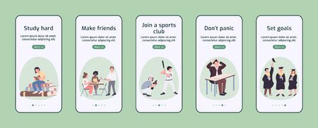 Student experience onboarding mobile app screen flat vector template. College lifestyle advices walkthrough website steps with characters. UX, UI, GUI smartphone cartoon interface, case prints set