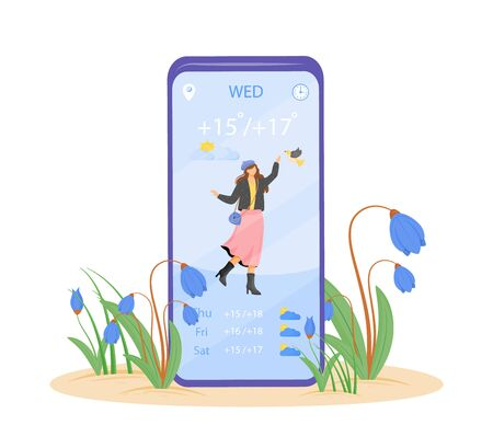 Spring weather forecast cartoon smartphone vector app screen. Mobile phone display with flat character design mockup. Weekly temperature for warm days application telephone interface
