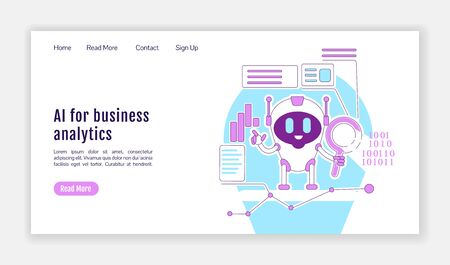 AI for business analytics landing page flat silhouette vector template. Automated Internet searching bot homepage layout. One page website interface with cartoon outline character. Web banner, webpage Ilustração