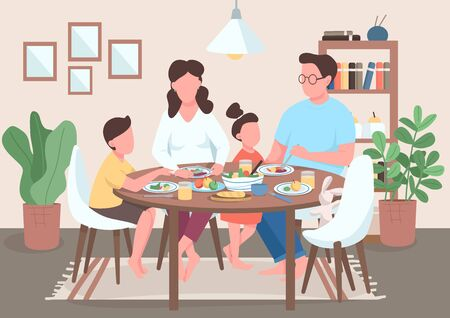 Family meal flat color vector illustration. Mother and father eating food with kids. Children having dinner with parents. Relatives 2D cartoon characters with interior on background