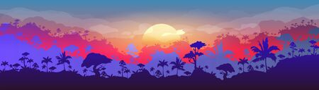 Jungle flat color vector illustration. Evening forest scenery. Panoramic woods at sunset. Tropical scenic nature with orange sun. Rainforest 2D cartoon landscape with layers on background Vector Illustration