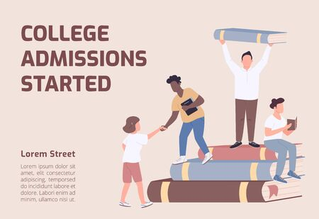 College admissions started banner flat vector template. University brochure, poster concept design with cartoon characters. Students enrollment horizontal flyer, leaflet with place for text Vettoriali