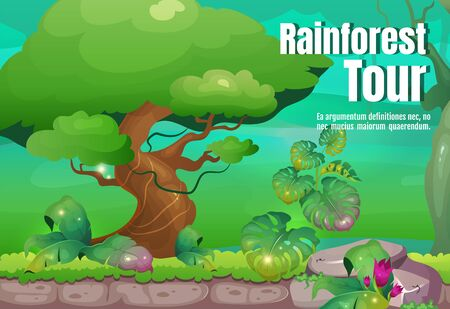 Rainforest tour poster flat vector template. Explore wild tropical nature. Travel to exotic forest. Brochure, booklet one page concept design with cartoon characters. Jungle flyer, leaflet Vektorgrafik