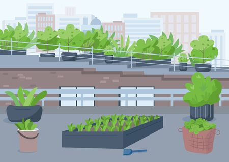 Rooftop gardening flat color vector illustration. Outdoor urban place for cultivating potted plants. Grow greenery outside. Highrise building roof 2D cartoon exterior with cityscape on background