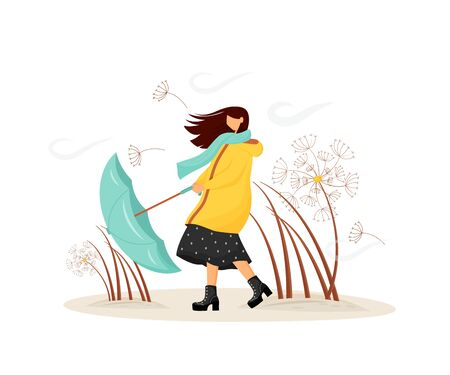 Windy weather flat concept vector illustration. Woman in coat with umbrella in storm. Female walk in raincoat 2D cartoon character for web design. Thunderstorm in cold autumn. Fall storm creative idea