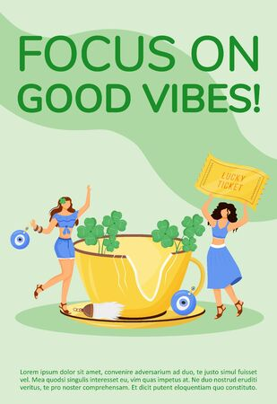 Focus on good vibes poster flat vector template. Superstitions and common beliefs brochure, booklet one page concept design with cartoon characters. Good luck charms, talismans shop flyer, leaflet