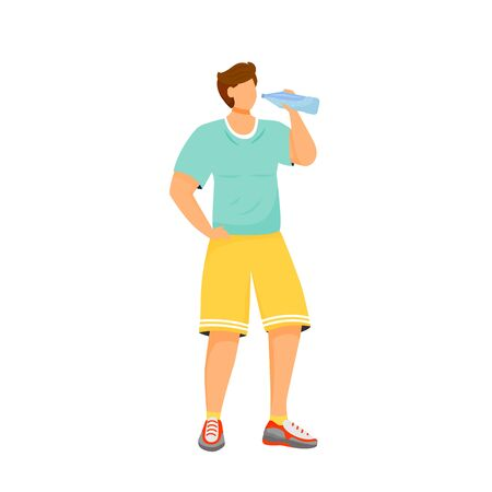 Man drink water flat color vector faceless character. Male sportsman with plastic bottle. Liquid to stay hydrated after gym workout. Person after exercise isolated cartoon illustration