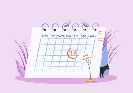 Friday 13th flat concept vector illustration. Calendar and black cat 2D cartoon composition for web design. Common superstition, unlucky day creative idea. Sinister calendar date, bad omen