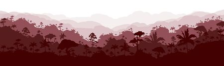 Jungle flat color vector illustration. Brown forest scenery. Grey panoramic woods. Tropical scenic nature. Wet climate environment. Rainforest 2D cartoon landscape with layers on background