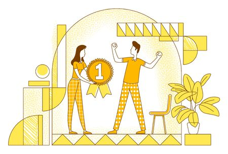 Perks and bonuses system thin line vector illustration. Executive manager and employee outline characters on white background. Workers achievements reward, effort recognition simple style drawing
