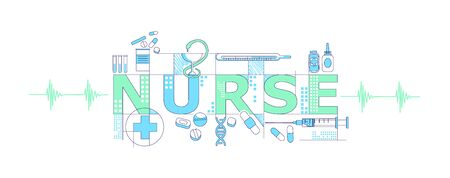 Nurse word concepts word concepts thin line vector banner. Medicine, pharmacology, healthcare. Isolated typography with icons. Cures and medical syringe creative creative illustration on white