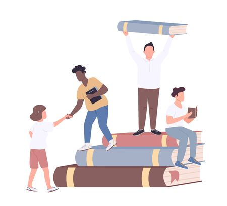Inclusive college community flat concept vector illustration. Diverse and friendly university students 2D cartoon characters for web design. Multiethnic study group, literature club creative idea