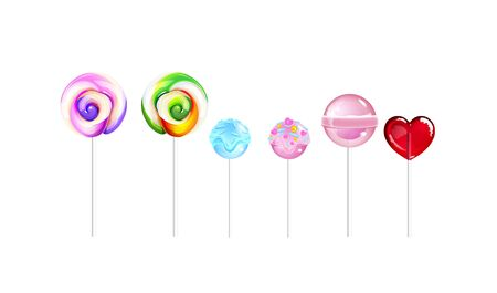 Lollipops, sugar candies realistic vector illustrations set. Sweet stuff, caramel. Tasty desserts, sugar confection. Lollies, delicious sticky-pops 3d isolated objects on white background