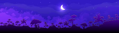Jungle flat color vector illustration. Night forest scenery. Panoramic woods with cresent moon. Tropical scenic nature with moonlight. Rainforest 2D cartoon landscape with layers on background