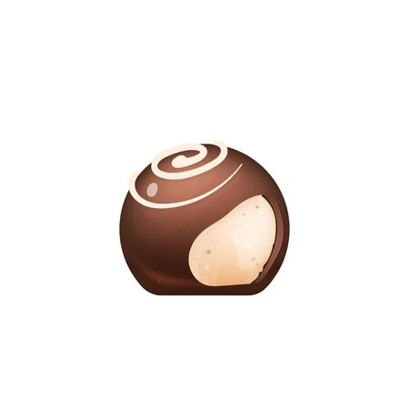 Cut chocolate candy, sugar confectionery realistic vector illustration. Sweet cocoa dessert, appetizing glazed yummy. Lolly, delicious caramel, praline 3d isolated object on white background 矢量图像