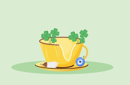 Good fortune flat concept vector illustration. Broken cup with four leaf clovers and luck charms 2D cartoon composition for web design. Common superstition, positive signs and amulets creative idea