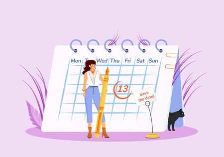 Friday thirteenth flat concept vector illustration. Young superstitious woman with calendar and black cat 2D cartoon characters for web design. Common superstition, unfortunate date creative idea
