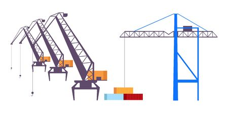 Industrial cranes flat color vector objects set. Heavy machinery, professional lifting equipment 2D isolated cartoon illustrations on white background. Building, construction industry technology  イラスト・ベクター素材